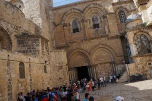The Church of the Holy Sepulchre with the Immovable Ladder just visible under the top right window