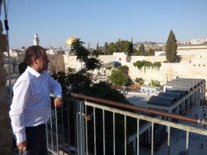 Reflecting on thousands of years of history looking across to the Temple Mount