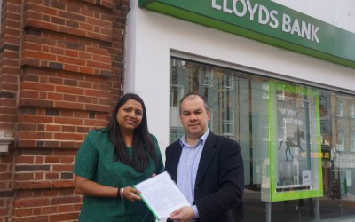 Presenting a petition to Lloyds Bank